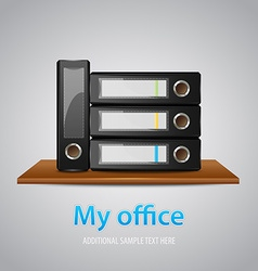 My office template with binders on a wooden shelf vector