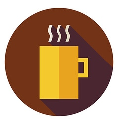 Flat hot drink cup circle icon with long shadow vector