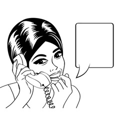 Woman chatting on the phone pop art in black and w vector