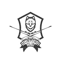 Grunge hunting club crest with carbines and fox vector
