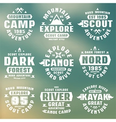 Camping and tourism badges vector