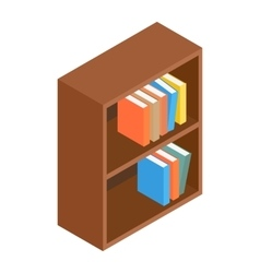 Bookcase isometric 3d icon vector
