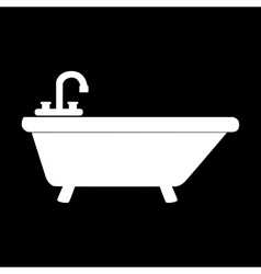 White bathtub icon vector