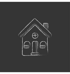 Detached house drawn in chalk icon vector
