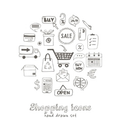 Set of doodle sketch shopping icons vector