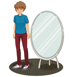 A handsome boy beside a mirror vector image vector image