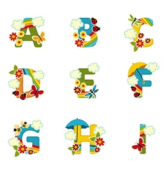 Alphabet rainbow from a to i vector