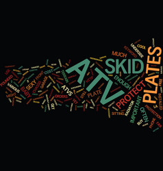 Atv skid plates text background word cloud concept vector