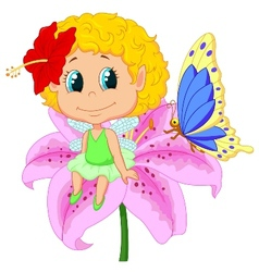 Baby fairy elf cartoon sitting on flower vector