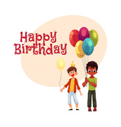 black and caucasian little boys with balloons vector image