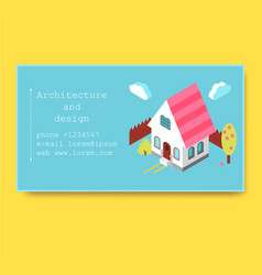 Business card with isometric house vector