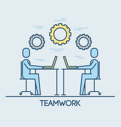 businessmen sitting working laptop teamwork vector image