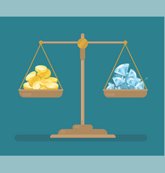 Coins and diamonds balance on the scale vector