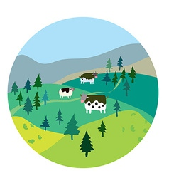 Cows and landscape vector image vector image
