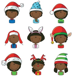 Cristmas african-american children avatars vector