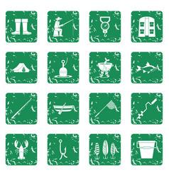 Fishing tools icons set grunge vector