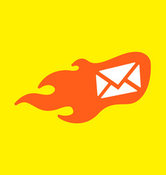 flame envelope icon vector image vector image