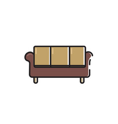 Flat color couch icon vector