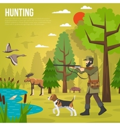 Flat Icons With Hunter Aiming At Ducks vector image vector image