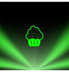 Flat paper cut style icon of cake vector image