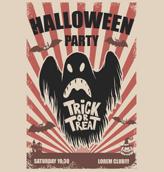 halloween party poster template scary ghosttrick vector image vector image