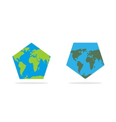 Pentagonal world map world land and oceans on an vector