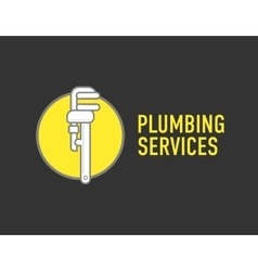 Plumbing repair wrench line flat icon logo vector