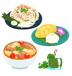 popular thai sweet mango sticky rice set vector image