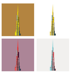 Set of burj khalifa tower icon uae dubai symbol vector