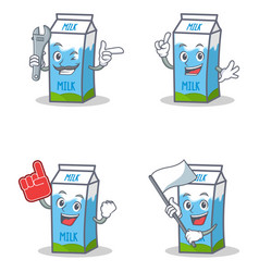 Set of milk box character with mechanic foam vector