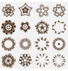 Set of round east ornament spirographs vector
