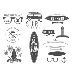 Set of Vintage Surfing Graphics and Emblems for vector image vector image