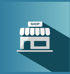 Shop icon with shadow on a blue background vector