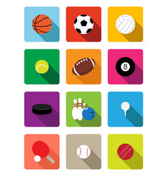 sport balls flat icons vector image
