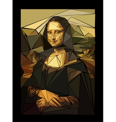 Stylized mona lisa made of triangles vector