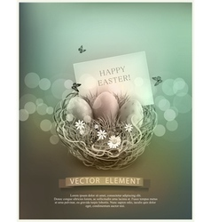 Vintage easter eggs in a wicker nest vector