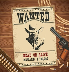 Wanted poster with cowboy objects on wood texture vector