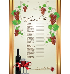 Wine list background vector