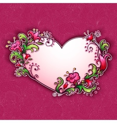 with heart and cartoon flowers vector image vector image