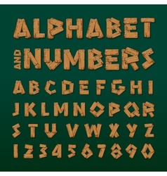Wooden alphabet and numbers vector image vector image