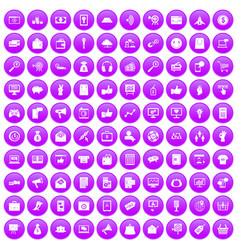 100 digital marketing icons set purple vector