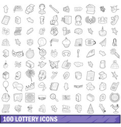 100 lottery icons set outline style vector