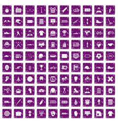 100 mens team icons set grunge purple vector image vector image