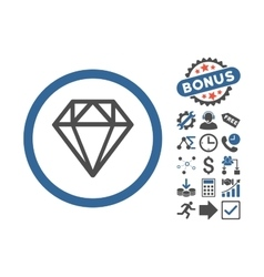 Diamond flat icon with bonus vector