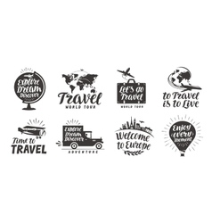 Travel set icons handwritten lettering label vector
