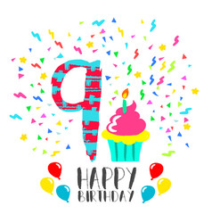 Happy birthday card for 9 year kid fun party art vector
