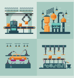 Industrial factory interior square concept vector