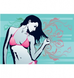 Woman beach sexy vector