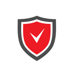Protection shield icon with red center and tick vector