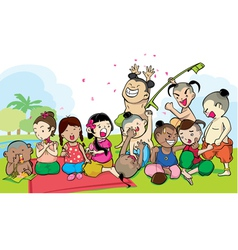 Kids group of ancient thailand vector